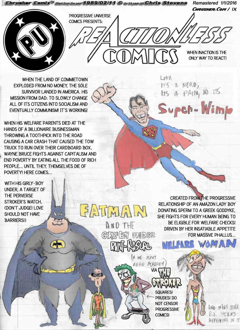 PU Comics: Superwimp, Fatman & Welfare Woman in Re:Actionless Comics! | Crusher (Faux Ad)