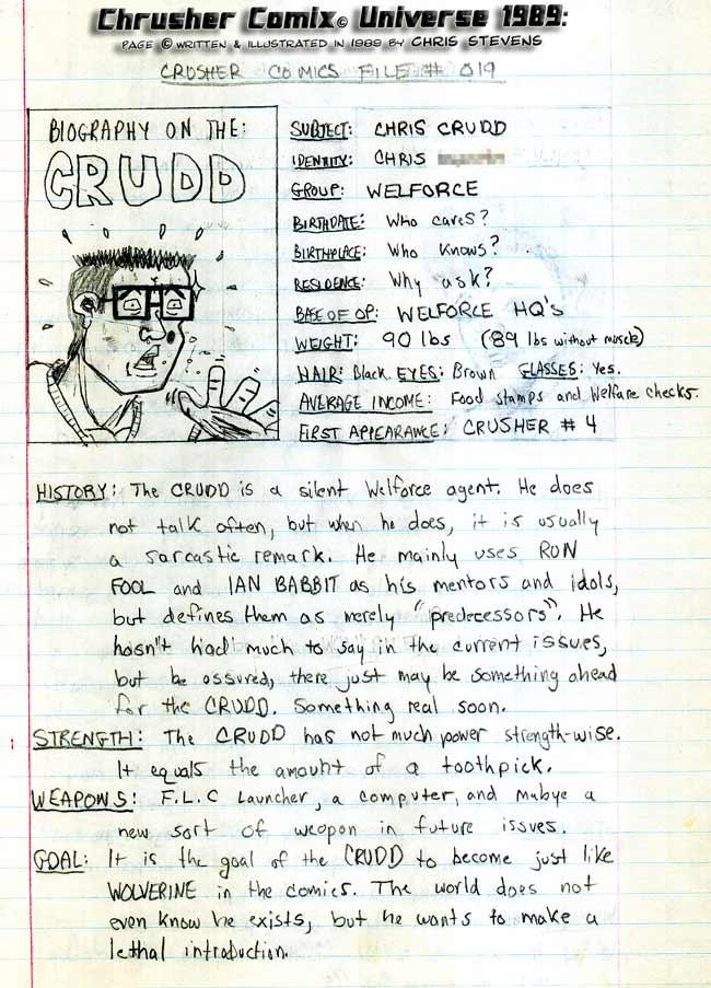 Crusher Comics Universe Kris Krudd 1988 Profile