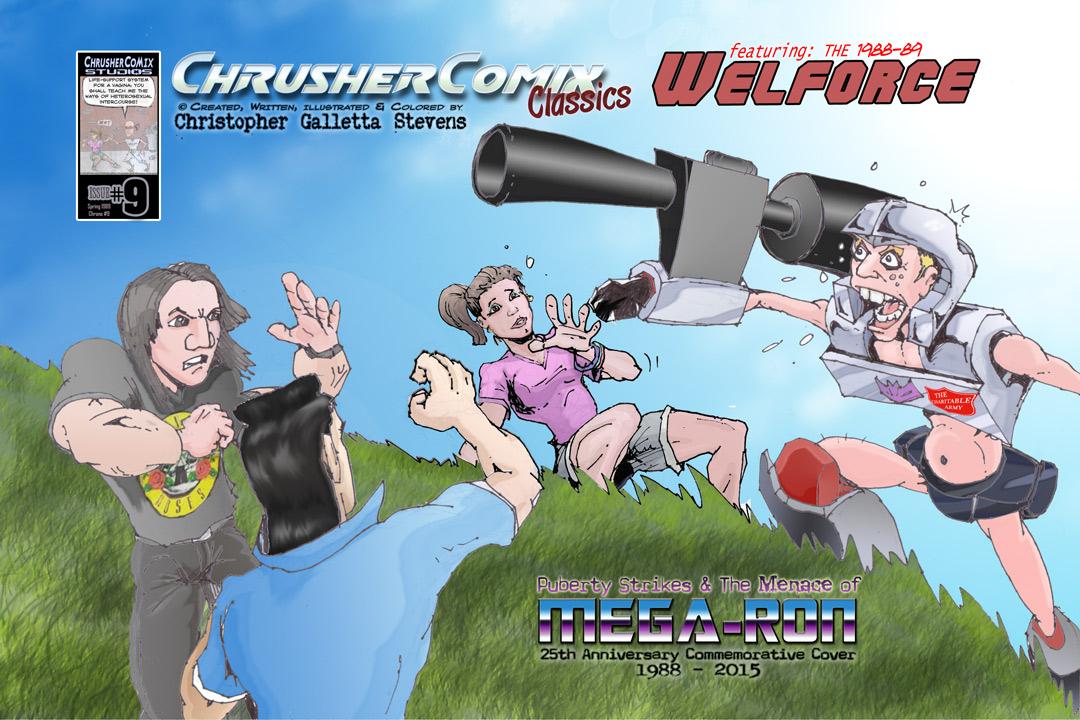 MEGARON!, Puberty Strikes & the MENACE of… – 25th Anniversary Cover | Crusher Comics #9